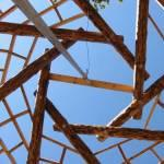 Reciprocal roof frame under construction